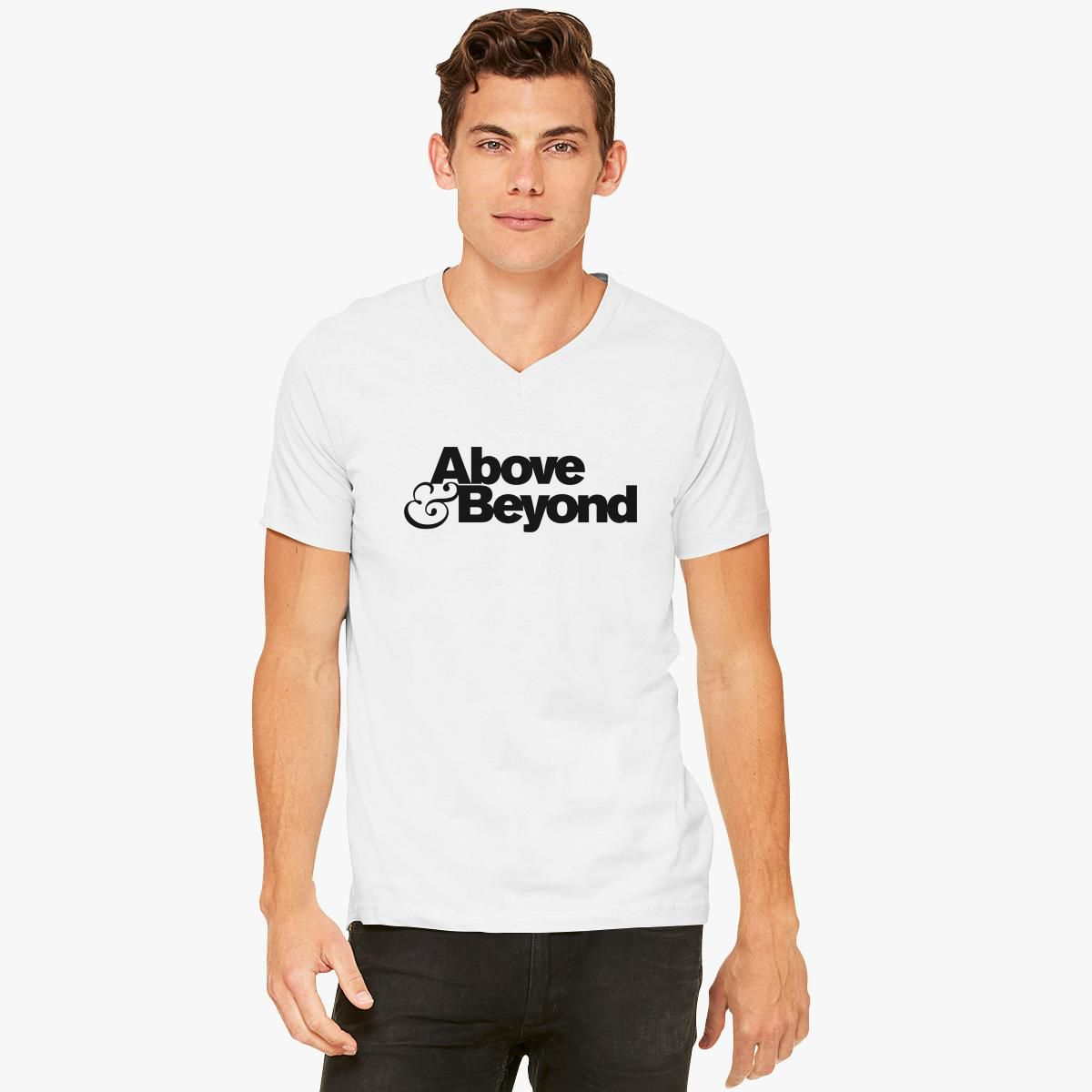 Above And Beyond Logo V Neck T Shirt Customon