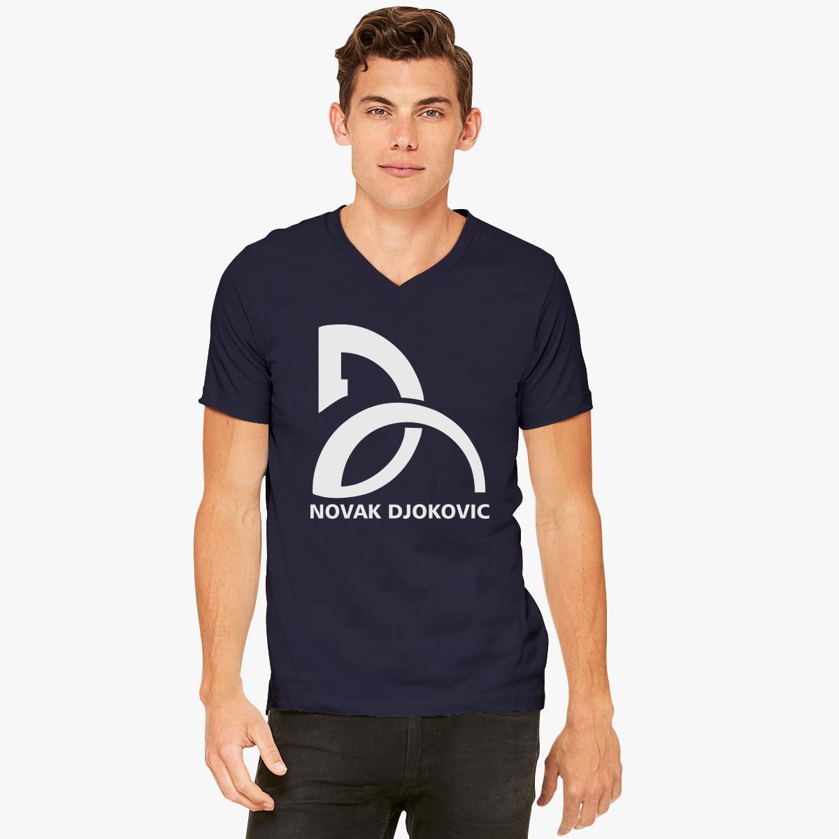 Novak Djokovic Logo V Neck T Shirt Customon
