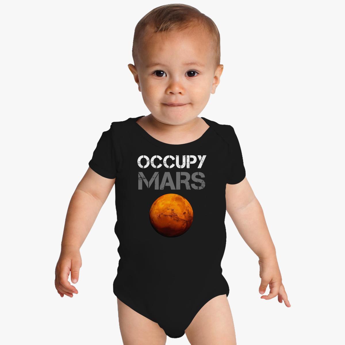 Baby Romper Occupy Mars 100/% Cotton Long Sleeve Infant Bodysuit