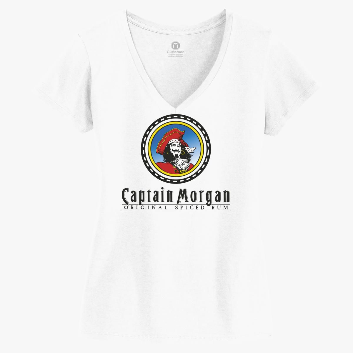 Captain Morgan T-Shirt Womens Small Black Fitted V-Neck Short Sleeve New