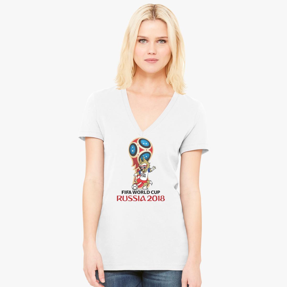 481ab3041e1 Russia World Cup 2018 Mascot Zabivaka Women s V-Neck T-shirt ...