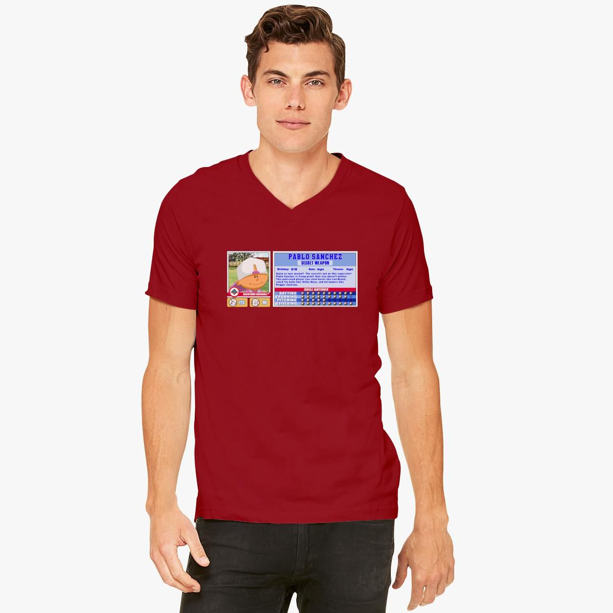 Pablo Sanchez - Backyard Baseball Stat Card V-Neck T-shirt ...
