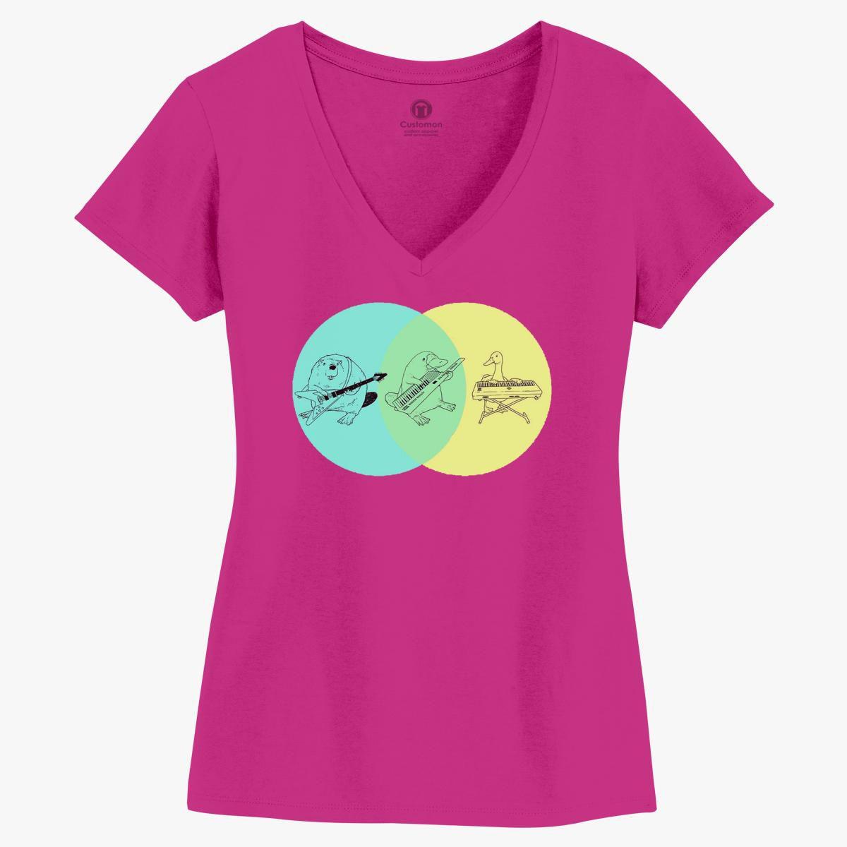 keytar platypus venn diagram women u0026 39 s v-neck t-shirt