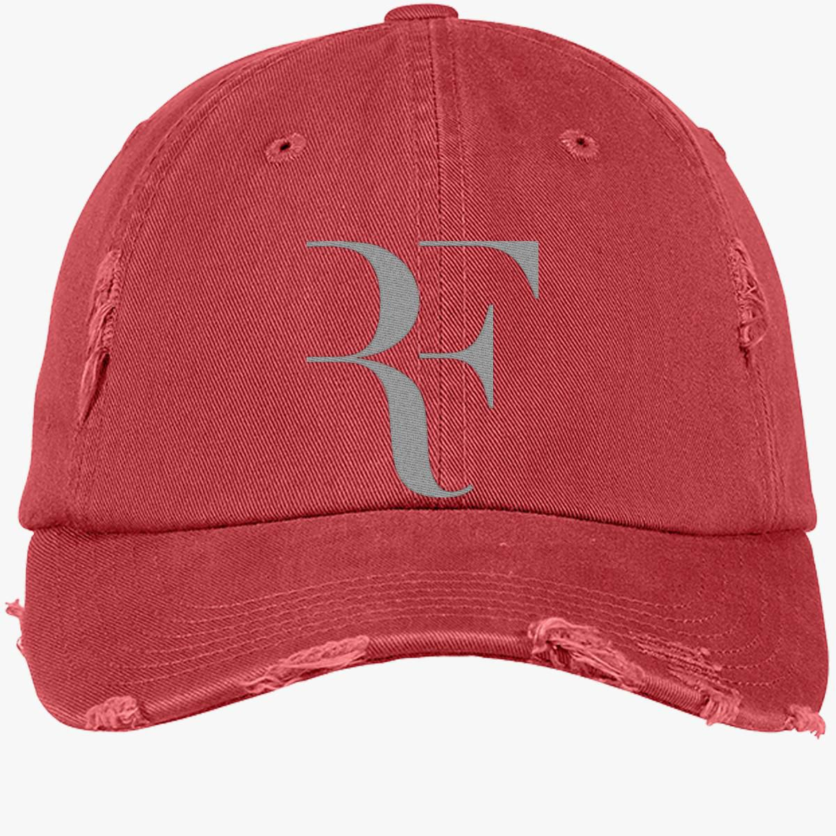 a7d5838705103 Roger FEDERER silver Distressed Cotton Twill Cap (Embroidered ...