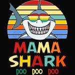 Retro Vintage Mama Shark Tshirt