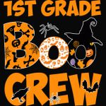 1st Grade Tshirt Cute Boo Crew Teacher Kids Halloween