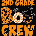 2nd Grade Tshirt Cute Boo Crew Teacher Kids Halloween