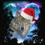 Santa Hat Grey Timber Wolf MidNight Forest