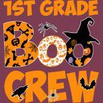 1st Grade Tshirt Cute Boo Crew Teacher Kids Halloween