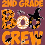 2nd Grade Tshirt Cute Boo Crew Teacher Kids Halloween