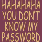 HAHAHAHA YOU DONT KNOW MY PASSWORD