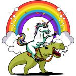 UNICORN RIDING T-REX