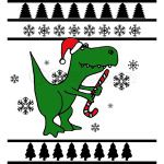 Big Green Trex Santa Ugly Christmas