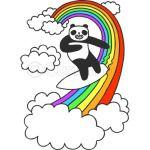 Pandas Surf Rainbows