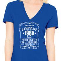 Vintage 1969 50th Birthday Womens V Neck T Shirt