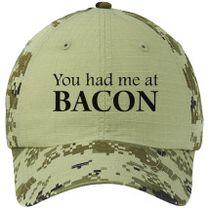 c0f3b7633e1 You Had Me At Bacon Funny Colorblock Camouflage Cotton Twill Cap