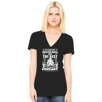 bd3cd15d All Men Created Equal But The Best Born In January Women's V-Neck T-