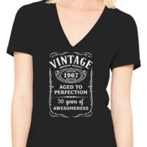 Vintage Age 50 Years 1967 Perfect 50th Birthday Womens V Neck T
