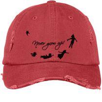 Never Grow Up Peter Pan Distressed Cotton Twill Cap (Embroidered) -  Customon.com 94b8d4ac836c
