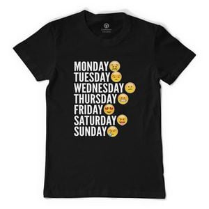 Emoji Days Of The Week Men's T-Shirt Black / S