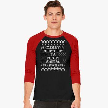 5d95bf2758f Merry Christmas ya filthy animal Baseball T-shirt - Customon.com