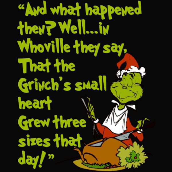 Image result for well in whoville they say the grinch's heart grew three sizes that day