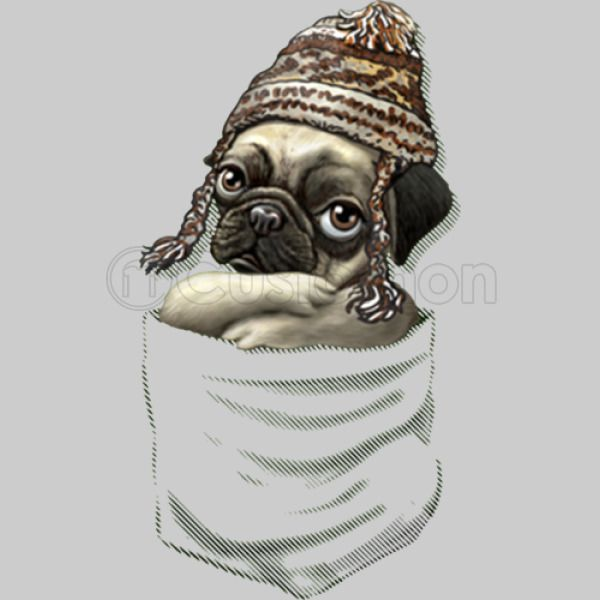 MudgeWare Pug With Winter Beanie Pocket Tee Women s T-shirt ... 8d48ec4e59