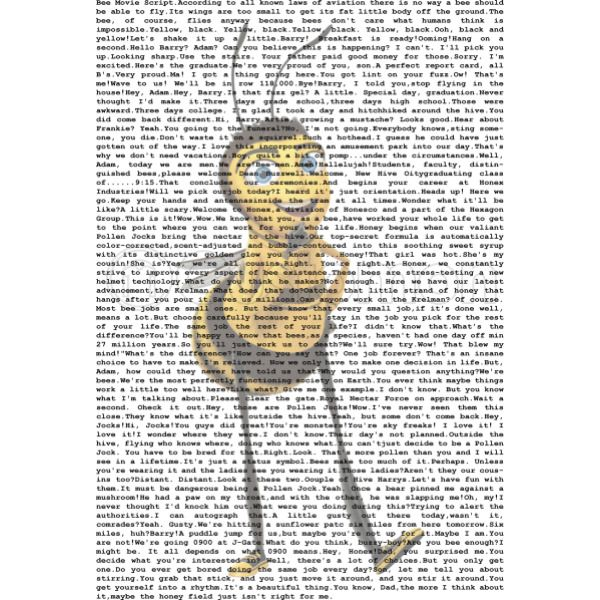 Bee Movie Script Women S T Shirt Customon Com