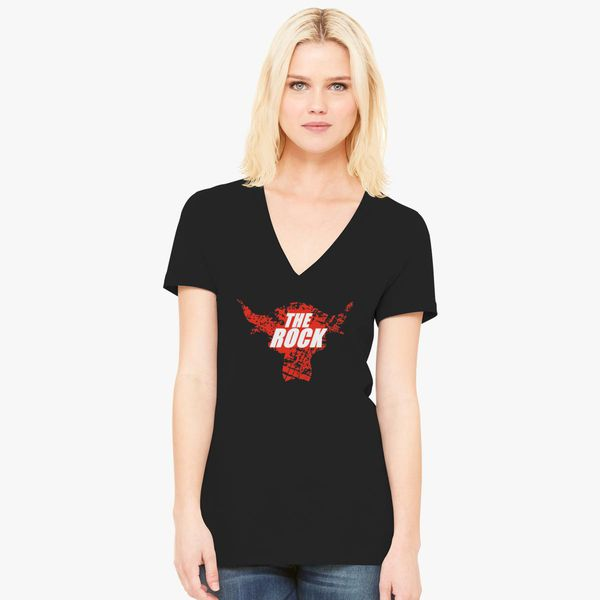 23f2c4335dc The Rock Dwayne Johnson Aged Logo Women s V-Neck T-shirt ...