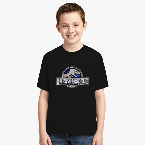 Jurassic World Metalic Logo Youth T Shirt Customon