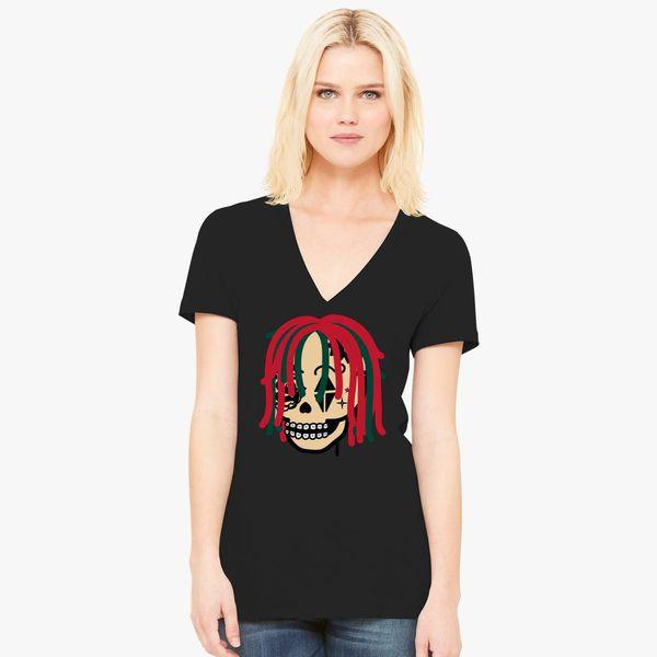 cbe8497b139f Gucci Gang Skull Logo Women's V-Neck T-shirt - Customon