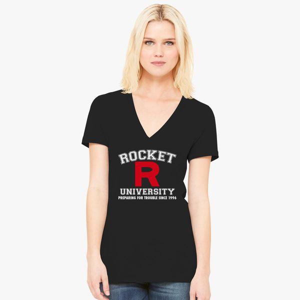 Pokemon Team Rocket Symbol Mens Women Unisex V-Neck Top Tee T-Shirt Short Sleeve
