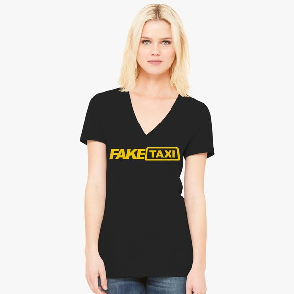 Fake Taxi Logo Women's V-Neck T-shirt - Customon