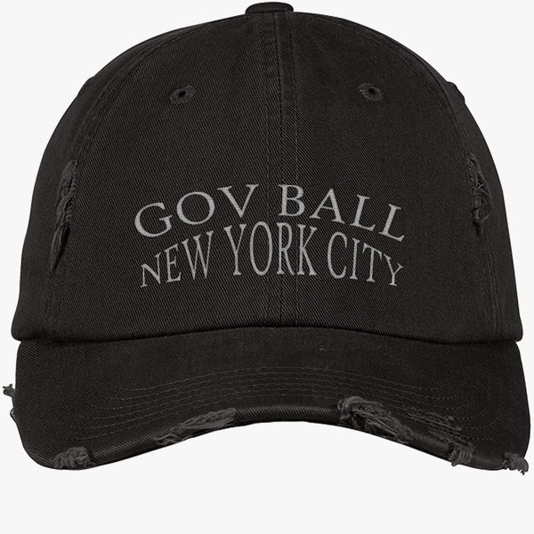 a353f6176d0 gov ball new york city Distressed Cotton Twill Cap (Embroidered ...