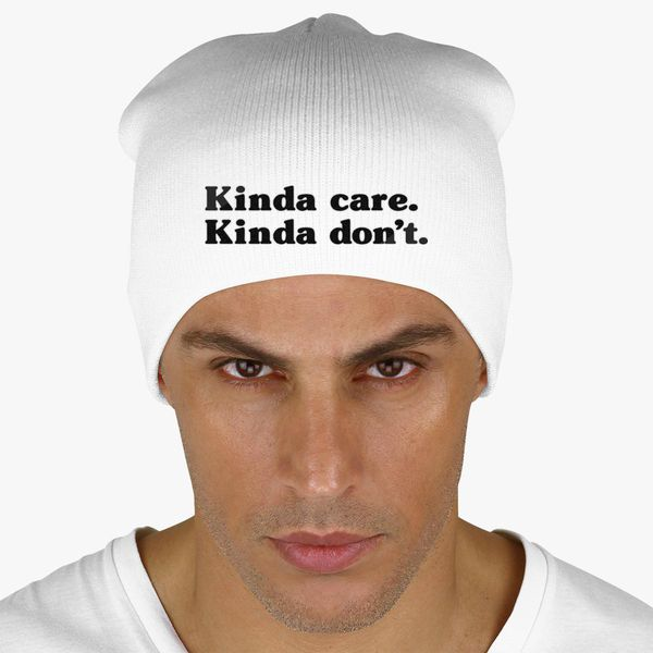 d019d54a778c Kinda Care Kinda Don't Knit Beanie (Embroidered) - Customon
