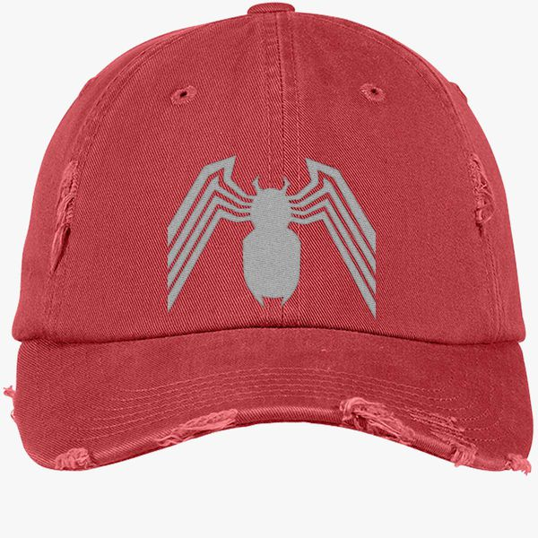 d23d5f35 Venom Spider-Man Distressed Cotton Twill Cap (Embroidered) - Customon