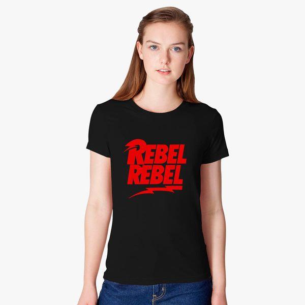 d86bba455e3ea0 David Bowie Rebel Rebel Women's T-shirt - Customon
