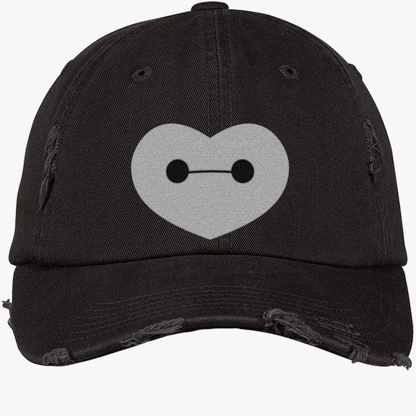 fc1fd8f6f2d Big Hero 6 - Baymax Shaped Heart Distressed Cotton Twill Cap - Embroidery