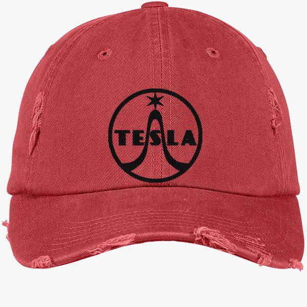 ec9c3943 Tesla Radio Logo Distressed Cotton Twill Cap (Embroidered ...