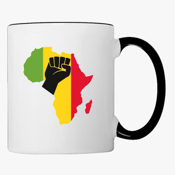 Africa Black Power Africa Map Fist African Coffee Mug