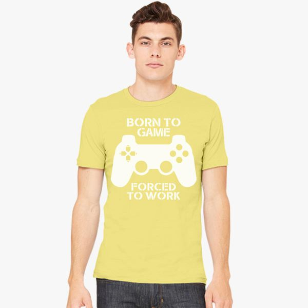 1Tee Mens Born To Game Forced To Go To Work Gaming T-Shirt
