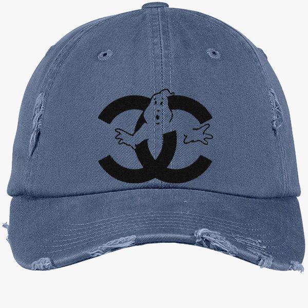 b26d3fddc chanel cc parody logo ghost Distressed Cotton Twill Cap (Embroidered) -  Customon