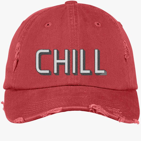 Funny Netflix and Chill Distressed Cotton Twill Cap (Embroidered) - Customon