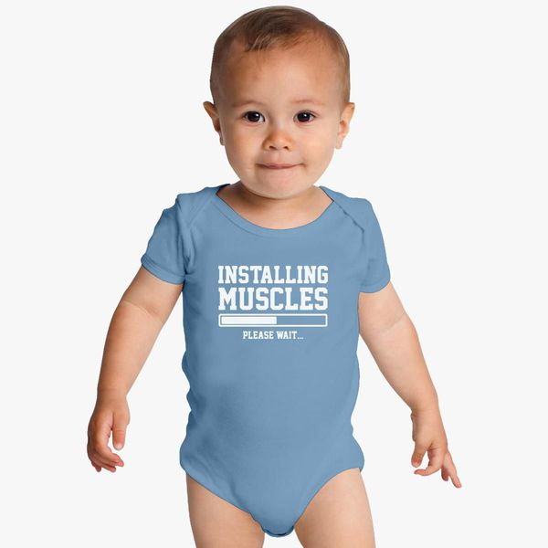 Infant Toddler Baby Cotton Bodysuit One Piece Installing Muscles Please Wait..