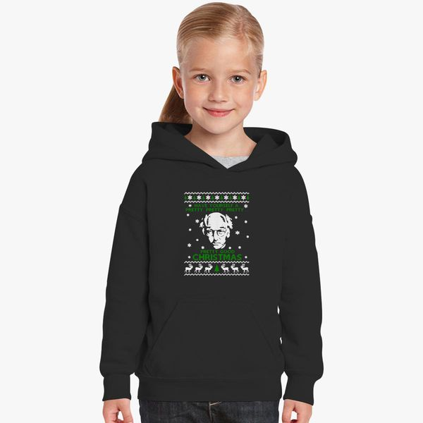 Larry David Pretty Good Christmas Ugly Sweater Kids Hoodie