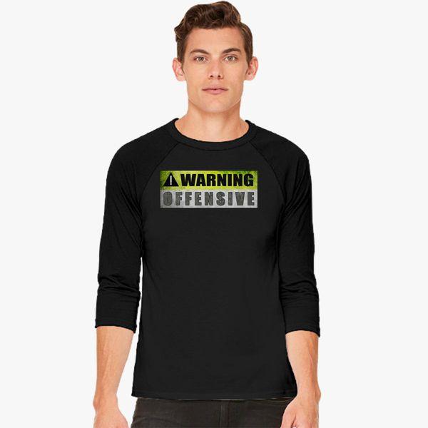 1414e1dd cool graphic design warning offensive Baseball T-shirt - Customon