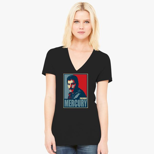 2b4a119946077 Freddie Mercury Women s V-Neck T-shirt - Customon