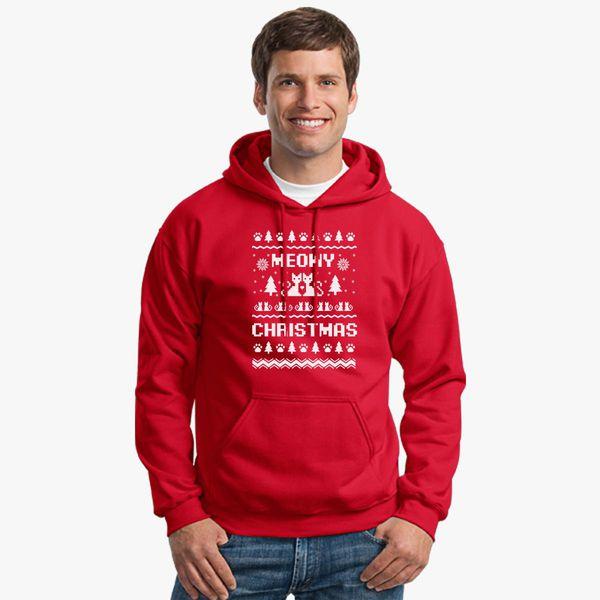 Christmas Ugly Sweater.Meowy Christmas Ugly Sweater Unisex Hoodie Customon