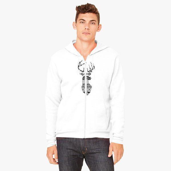 Buy Deer Aztec Pattern Unisex Zip-Up Hoodie, 22241