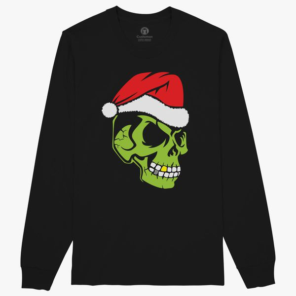 Gold Tooth Green Skull Santa Hat Christmas Grinch Mens T-Shirt